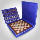 Wooden Border Chess Set (Red Multi Onyx with Coral Marble)