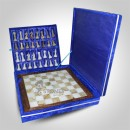Wooden Border Chess Set (White Onyx with Green Onyx)