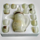 White Onyx Tea Set In Styrofoam Box