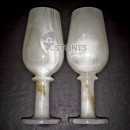"White Onyx Champagne Glass(3"" X 8"") 2 Pc's Set in Velvet Gift Box"