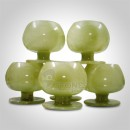"Afghan Green Onyx Goblet 6 Pc's Set (4"" X 4"") in Velvet Gift Box"